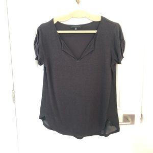 Flowy black tee shirt with silky overlay